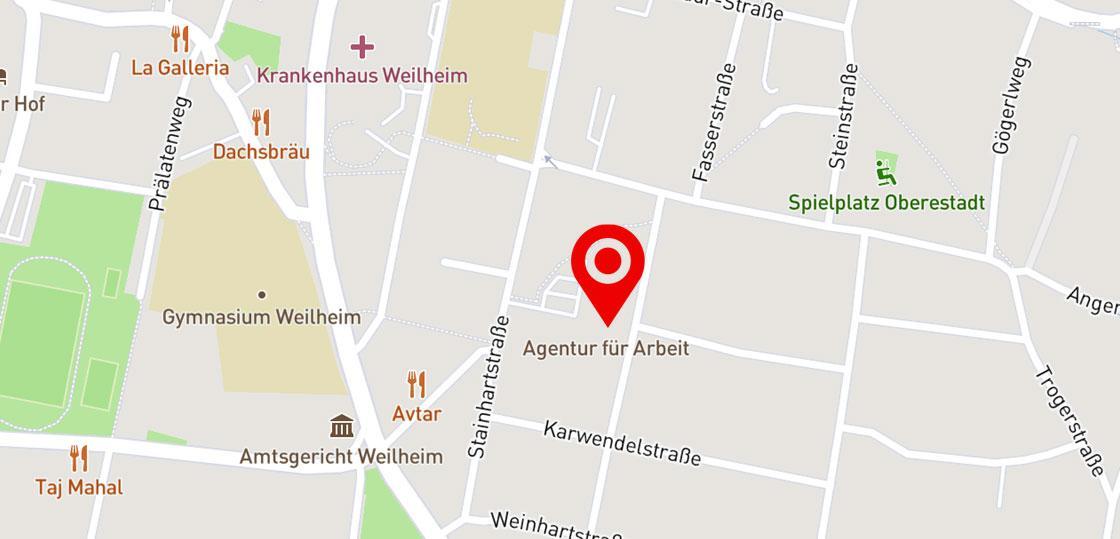 Karte Jobcenter Weilheim Schongau